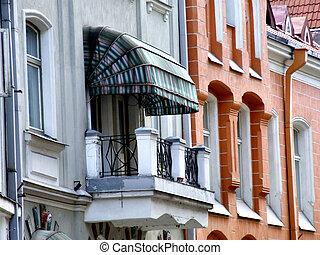 -, arquitectura, viejo, tallinn, balcón