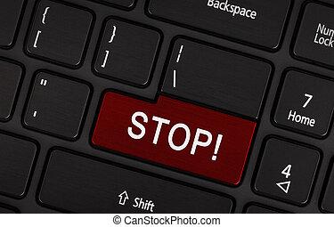 -, arrêt, (red, key), clavier, conceptuel, vue