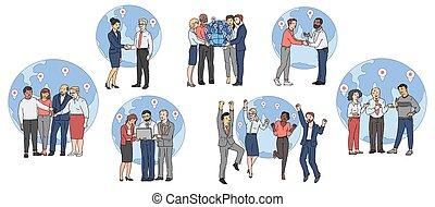 -, association, global, dessin animé, fonctionnement, dessin, ensemble, professionnels, ensemble