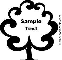 -, astratto, albero, cornice, testo