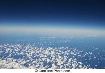 -, atmosfera, nuvens, fundo, céu