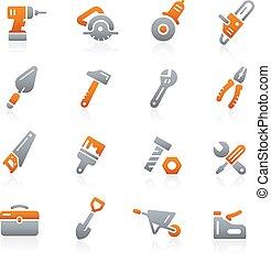 --, attrezzi, icone, grafite, serie