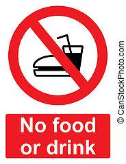 -, aucune nourriture, boisson, ou, signe, isolé, fond blanc, prohibition, rouges