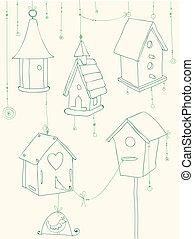 -, augurio, uccello, case, disegno, doodles, album, uccelli, scheda