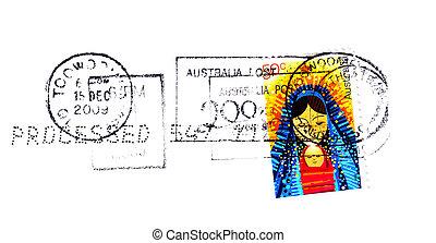 -, australia, circa, 2009:, australijski, pocztowy, boże narodzenie, tłoczyć, odwołany