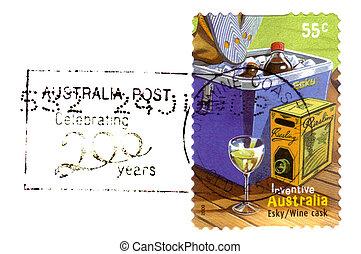-, australia, esky, beczka, circa, opisywanie, tłoczyć, 2009, australijski, pocztowy, inwencje, wino, odwołany, :