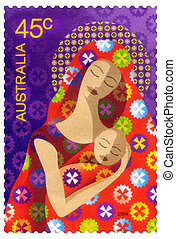 -, australia, odwołany, circa, boże narodzenie, opisywanie, opłata pocztowa, australijski, 2004, tłoczyć, :