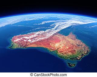 -, australia, raum, erde, gesehen, tageszeit