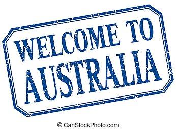 -, australien, isolerat, välkommen, årgång, etikett, blå