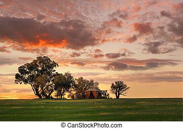 -, ausztrália, él, épület, outback, hol, senki, palota