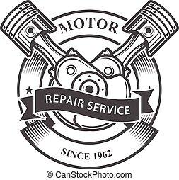 -, auto, moteur, pistons, crankshaft, réparation, emblème, service