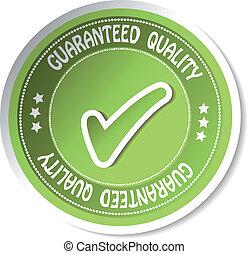-, autocollant, vecteur, guaranteed, qualité