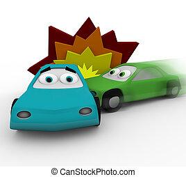 -, auto's, ongeluk, botsing, twee