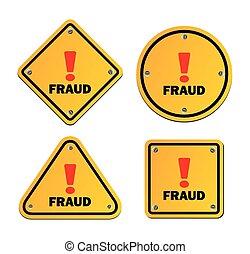 -, avertissement, fraude, signe