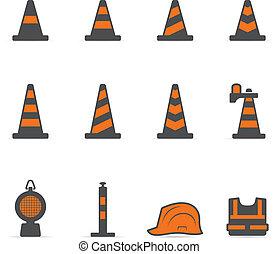 -, avertissement, trafic, duotone, icônes