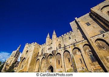 -, avignon, dama, francia, catedral, doms, nuestro
