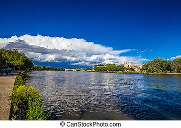 -, avignon, río, francia, ródano, europa, catedral