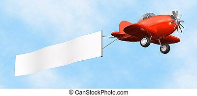 -, avion, bannière, isolé