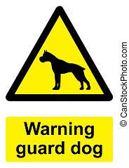 -, avvertimento, guardia, cane nero, fondo, isolato, segno, bianco, giallo