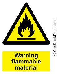 -, avvertimento, nero, materiale, fondo, infiammabile, isolato, segno, bianco, giallo