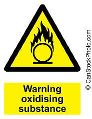 -, avvertimento, nero, oxidising, fondo, isolato, sostanza, segno, bianco, giallo