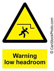 -, avvertimento, sfondo nero, basso, isolato, headroom, segno, bianco, giallo