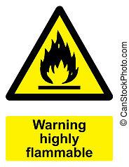 -, avvertimento, sfondo nero, infiammabile, isolato, segno, bianco, altamente, giallo
