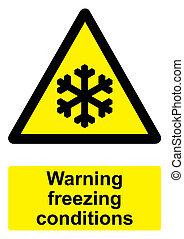 -, avvertimento, sfondo nero, isolato, condizioni, segno, bianco, giallo, congelamento