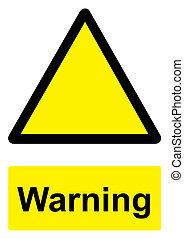 -, avvertimento, sfondo nero, isolato, segno, bianco, giallo