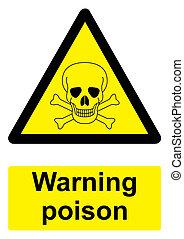 -, avvertimento, sfondo nero, isolato, segno, bianco, giallo, veleno