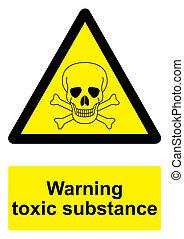 -, avvertimento, sfondo nero, isolato, sostanza, segno, bianco, giallo, tossico