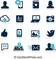 --, azur, social, série, icônes