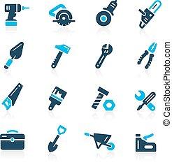 --, azzurro, attrezzi, icone