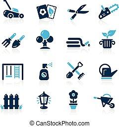 --, azzurro, icone, giardinaggio, serie