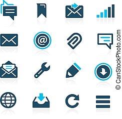 --, azzurro, messaggi, icone