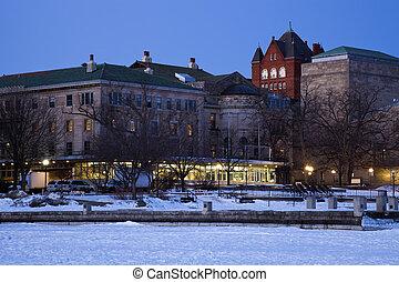 -, bâtiments, historique, wisconsin, université