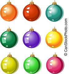 -, balles, arbre, coloré, noël