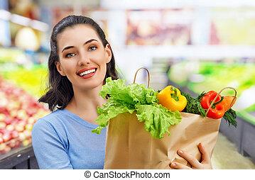 -ban, a, élelmiszerbolt