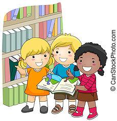 -ban, a, könyvtár