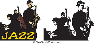 -, banda, escuela, jazz, viejo