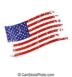 -, bandiera, isolato, americano, vettore, fondo, sporco, bianco, grunge