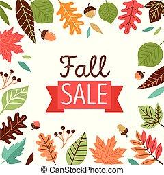 -, bannière, vente, automne, bonjour, automne
