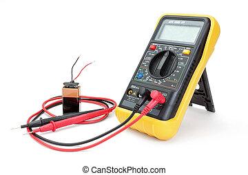 -, battery., aparato, amperímetro, eléctrico, medida, ...