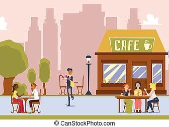 -, bebidas, garçom, café, rua, caricatura, ao ar livre, mulheres, servindo, assento