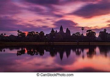 -, berömd, angkor, kambodjan, gränsmärke, vad, soluppgång