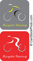 -, bicikli, vektor, versenyzés, ikon