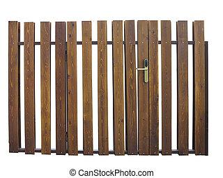 Braunes Holztor Mit Gruner Pflanze Als Dekoration Canstock
