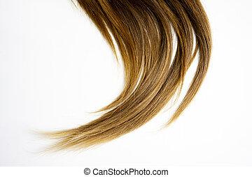 Der Friseur Hat Lange Gerade Haare Die Auf Weiß Isoliert