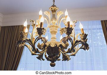 Deckenleuchter in luxuszimmer, lampe.