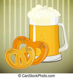 -, birra, pretzel, disegno, retro